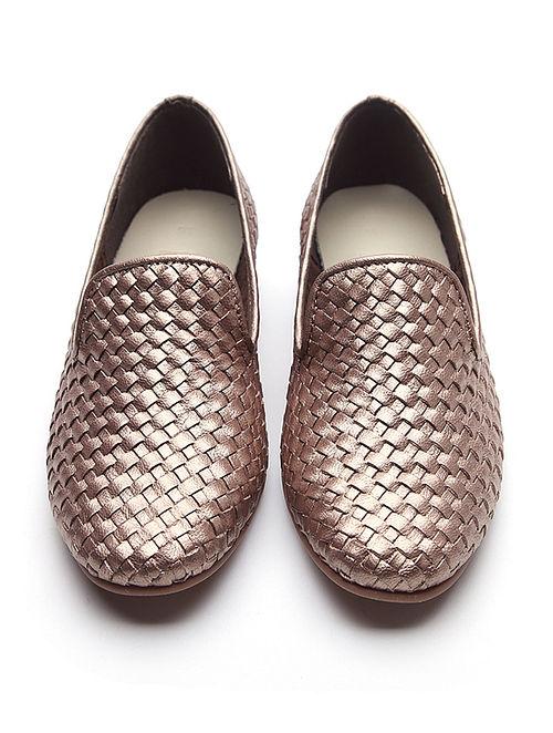 Metallic Handwoven Leather Loafers