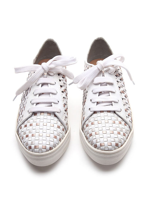 White Handwoven Genuine Leather Sneakers
