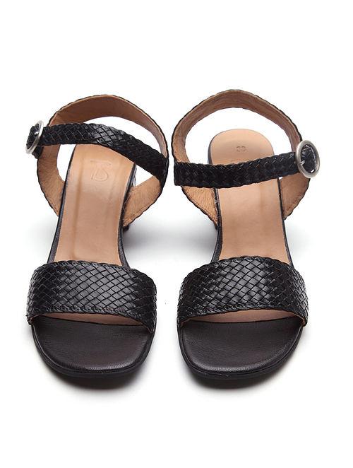Black Handwoven Genuine Leather Sandals