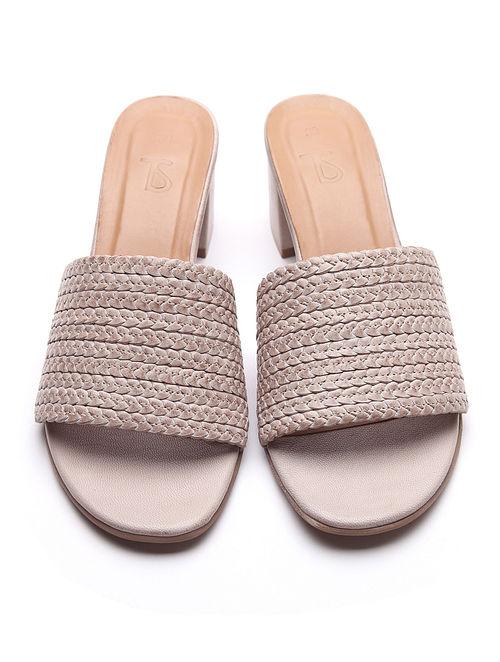 Beige Handwoven Leather Block Heels