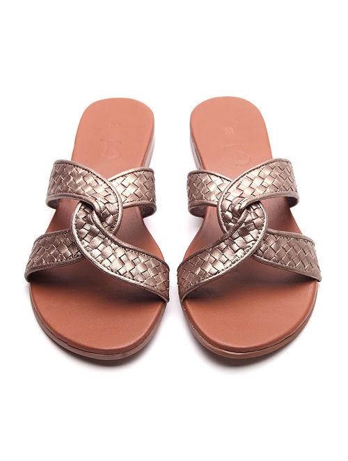 Bronze Handwoven Leather Block Heels