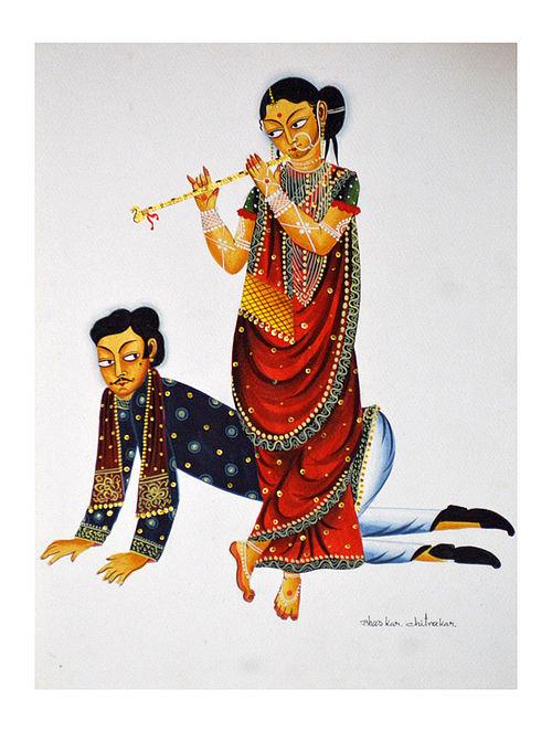Limited Edition Kalighat pattachitra Babu dancing to Bibi