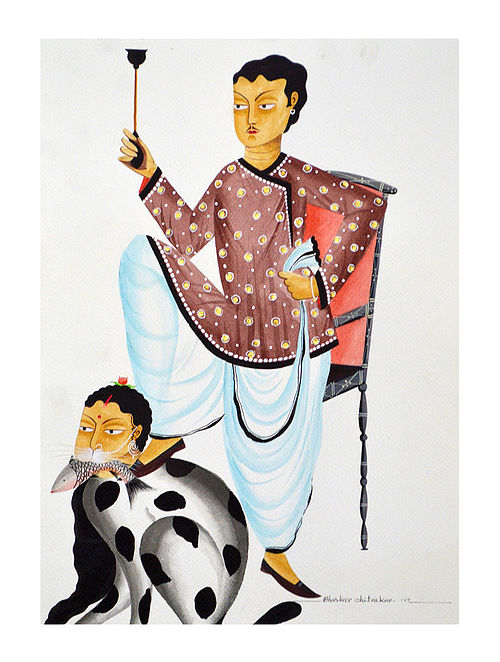 Limited Edition Kalighat pattachitra Chauvinist Babu Print on Archival Paper -8.5in x 11.5in