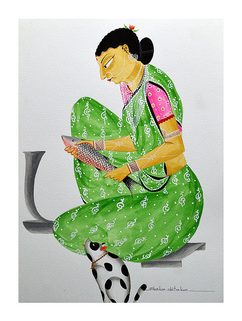 Limited Edition Kalighat pattachitra Bibi cutting fish Print on Archival Paper -8.5in x 11.5in