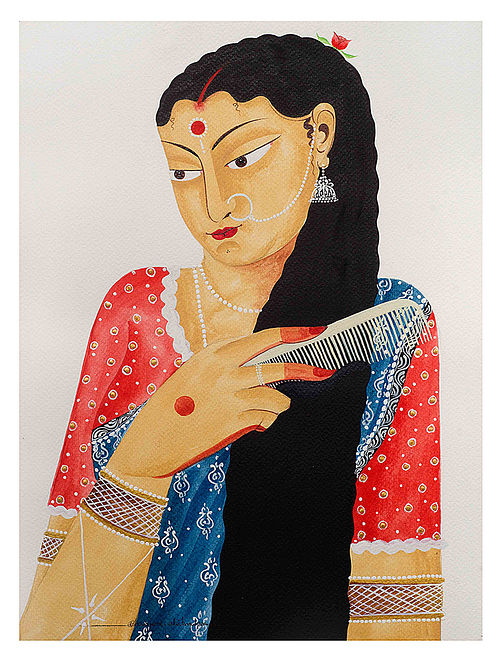Limited Edition Kalighat Pattachitra Bibi combing her hair Print on Archival Paper - 8.25in x 11.6in