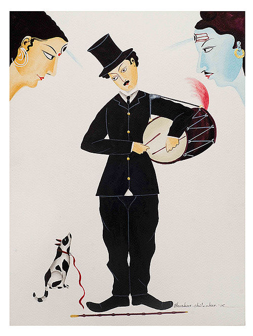 Limited Edition Kalighat Pattachitra Charlie Chaplin in Kalighat Print on Archival Paper - 8.5in x 11.5in