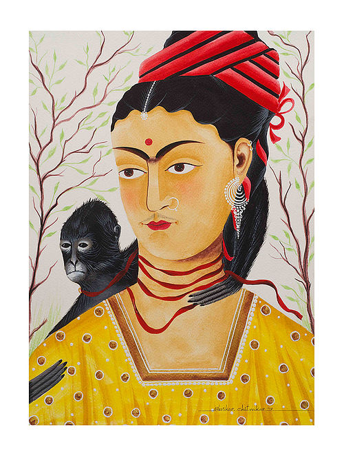 """Limited EditionKalighat Pattachitra """"Kali-Kahlo 2"""" Digital Print on Paper - 8.25in x 11.6in"""
