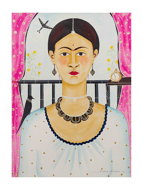 """Limited EditionKalighat Pattachitra """"Kali-Kahlo 4"""" Digital Print on Paper - 8.5in x 11.5in"""