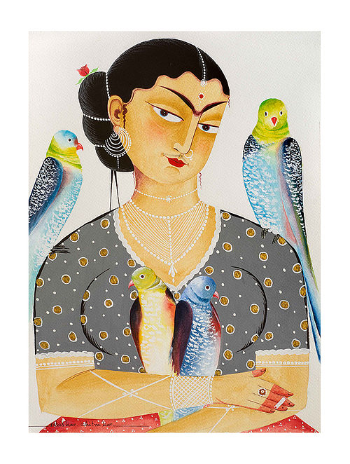 """Limited EditionKalighat Pattachitra """"Kali-Kahlo 5"""" Digital Print on Paper - 8.5in x 11.5in"""