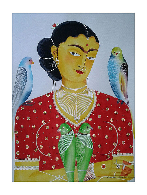 """Limited EditionKalighat Pattachitra """"Kali-Kahlo 9"""" Digital Print on Paper - 8.5in x 11.5in"""