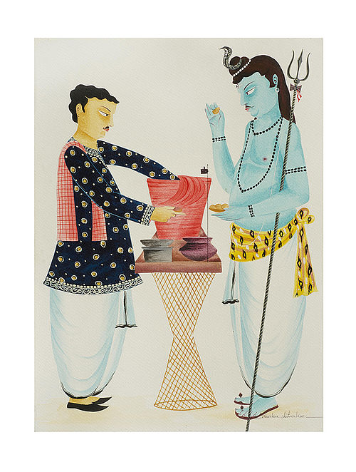 """Limited Edition Kalighat Pattachitra """"Shiva eating puchkas """" Digital Print on Paper - 8.25in x 11.6in"""