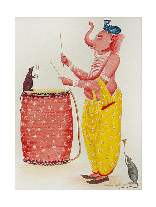 "Limited Edition Kalighat Pattachitra ""Three Musicians"" Digital Print on Paper - 8.25in x 11.6in"