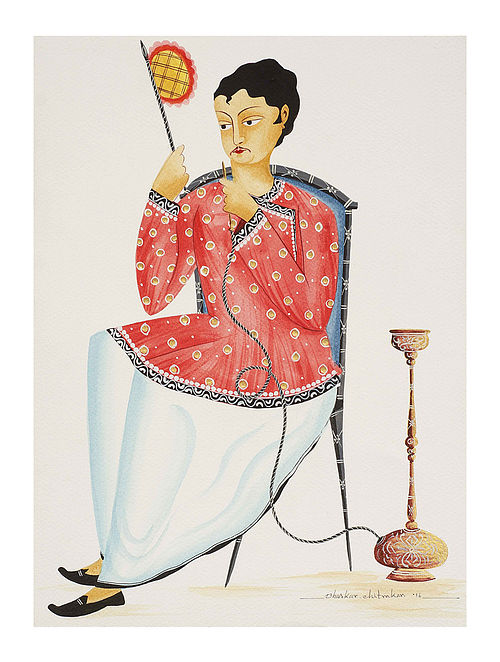 """Limited Edition Kalighat Pattachitra """"Babu with Hookah and Fan"""" Digital Print on Paper - 8.5in x 11.5in"""