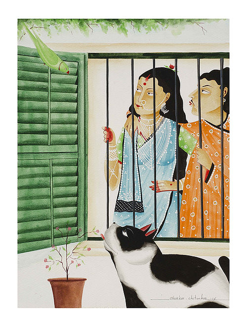 """Limited Edition Kalighat Pattachitra """"Babu-Bibi and Cat"""" Digital Print on Paper - 8.25in x 11.6in"""