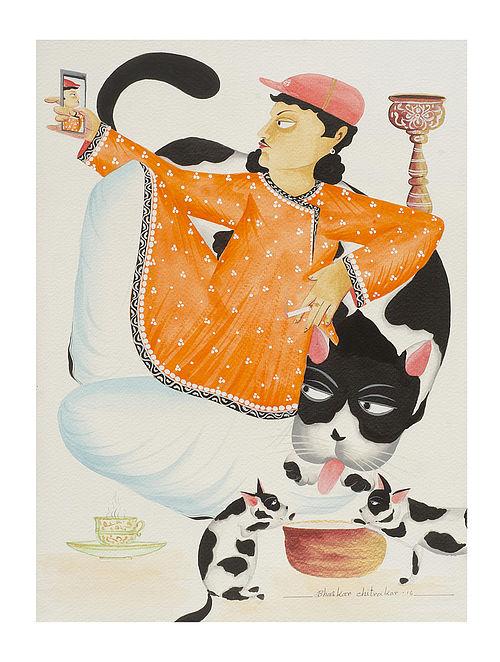 "Limited Edition Kalighat Pattachitra ""Babu taking"