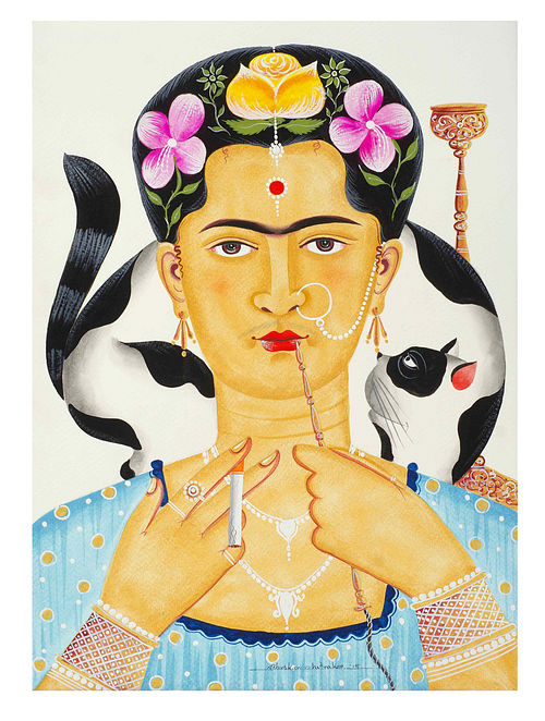 Limited Edition Kalighat Pattachitra Kali-Kahlo 13 Digital Print on Paper - 8.5in x 11.5in