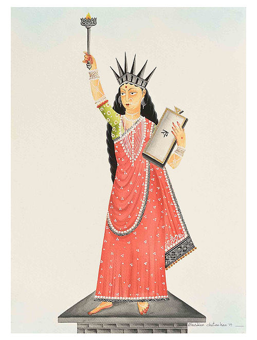Kalighat Pattachitra Liberty Digital Print on Archival Paper- 8.5in x 11.5in