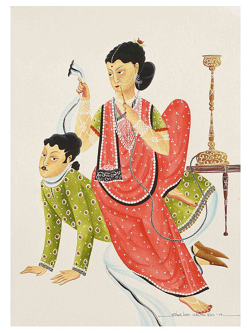 Kalighat Pattachitra Hen-Pecked Babu Digital Print on Archival Paper- 8.5in x 11.5in
