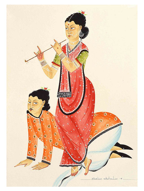 Kalighat Pattachitra Dancing To Her Tune Digital Print on Archival Paper - 8.5in x 11.5in