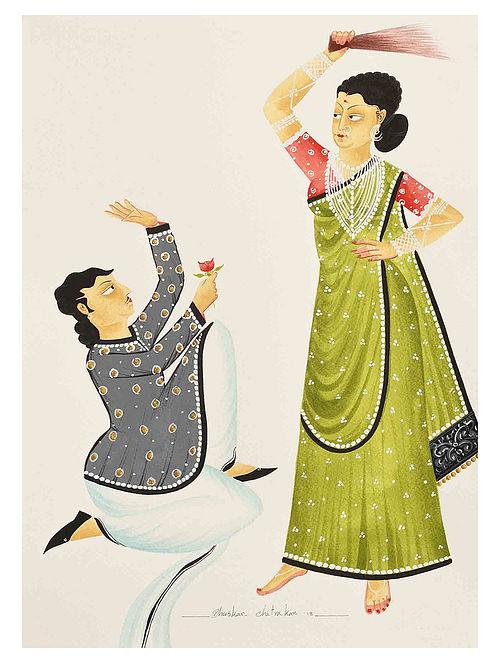 Kalighat Pattachitra Babu Getting A Thrashing Digital Print on Archival Paper- 8.5in x 11.5in
