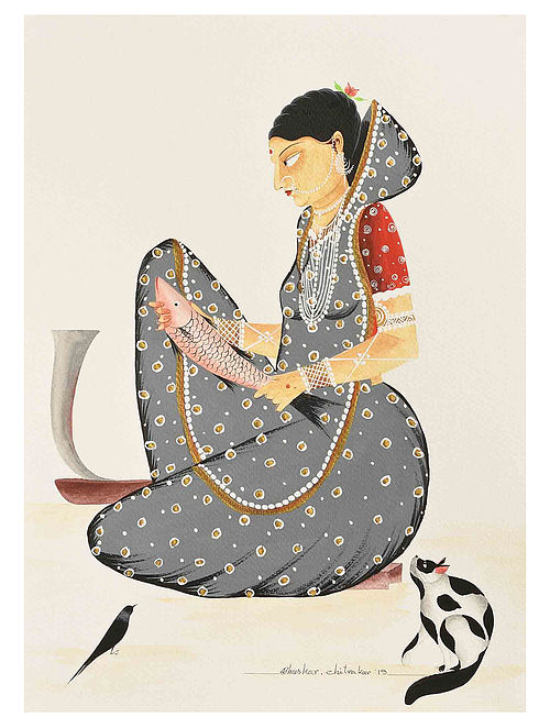 Kalighat Pattachitra Bibi Cutting Fish Digital Print on Archival Paper- 8.5in x 11.5in