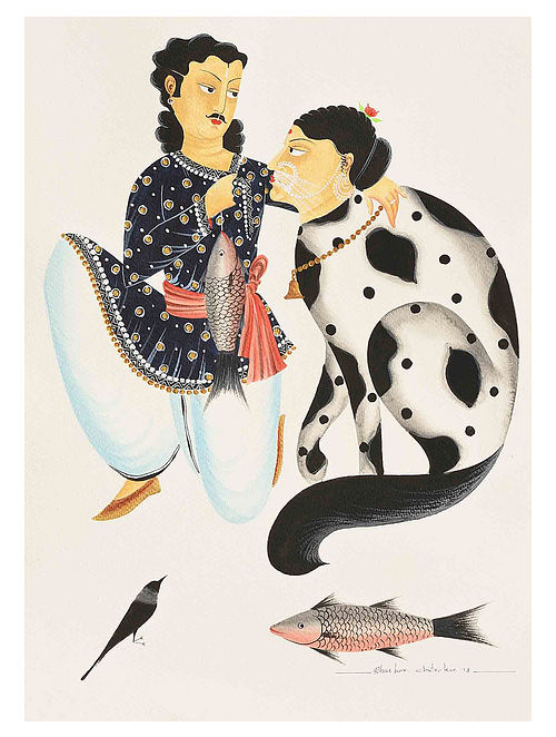 Kalighat Pattachitra Babu And His Cat Digital Print on Archival Paper - 8.5in x 11.5in