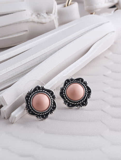efd12dbe5 Buy Peach Silver Tone Brass Stud Earrings Online at Jaypore.com
