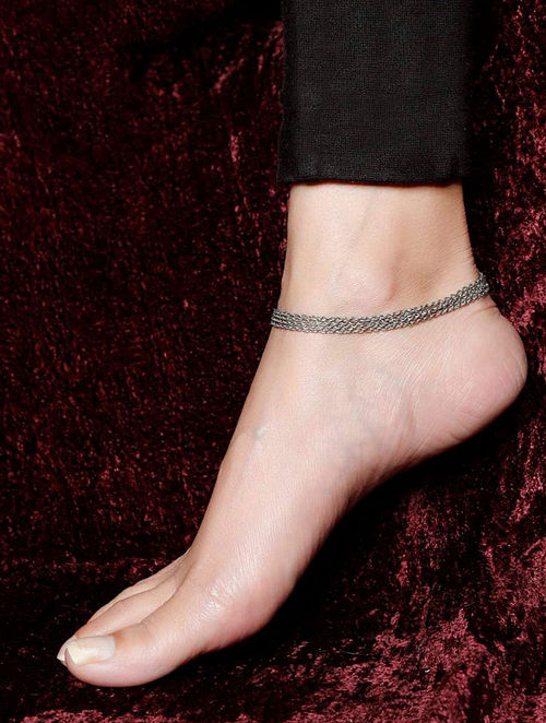 Silver Tone Handcrafted Anklet (Set of 2)