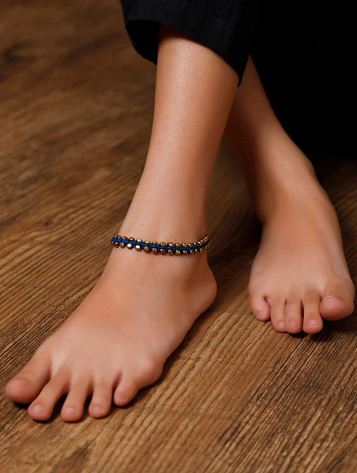 Blue Gold Tone Handcrafted Anklets (Set of 2)
