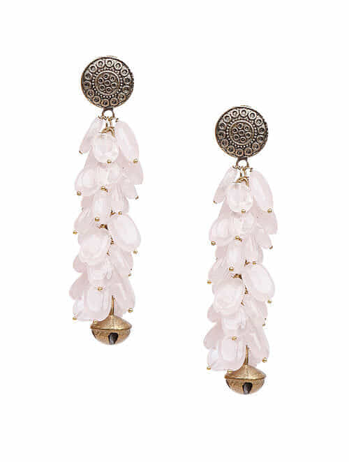 White Gold Tone Beaded Earrings with Ghungroo