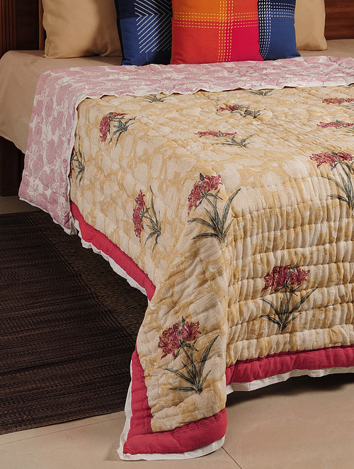Red Hand Block Printed Reversible Single-Bed Quilt 88in X 65in