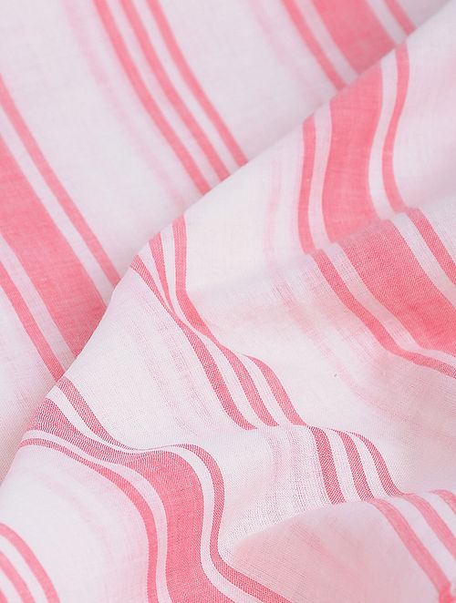 White-Red Striped Khadi-Cotton Fabric