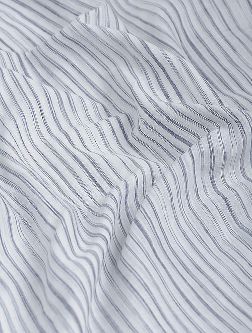 White-Black Striped Khadi-Cotton Fabric