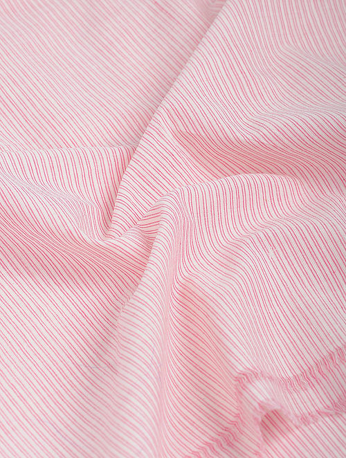 Pink-White Striped Khadi-Cotton Fabric