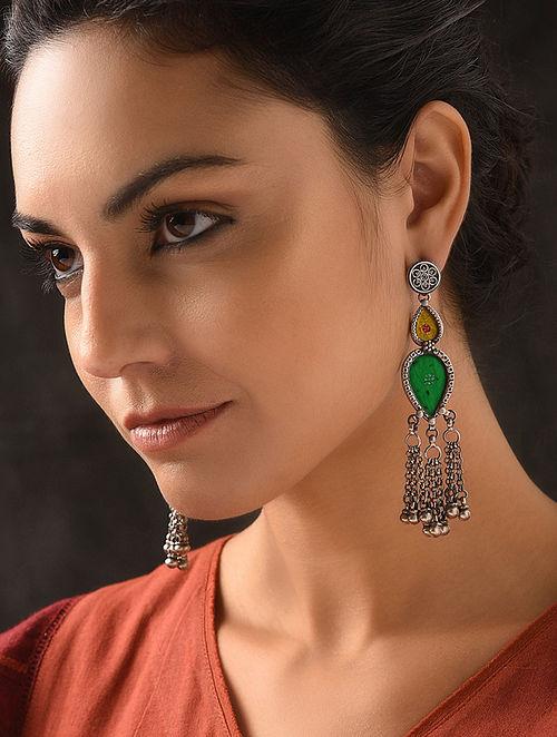 Yellow-Green Glass Tribal Silver Earrings
