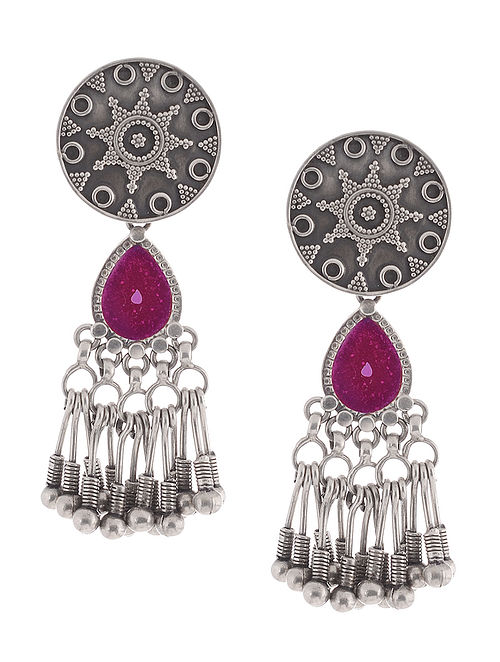 Pink Glass Tribal Silver Earrings