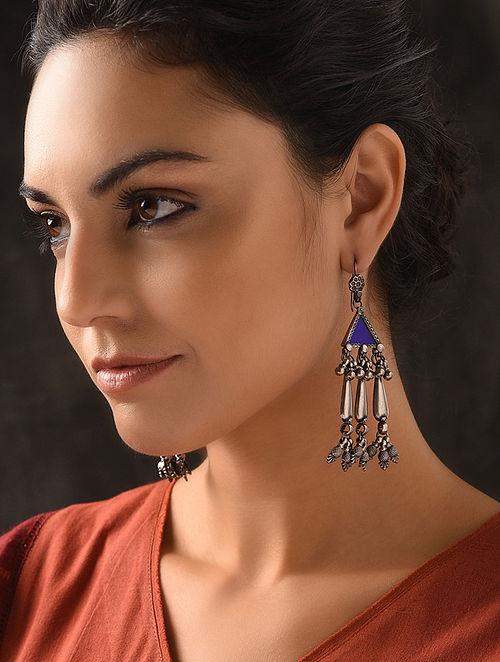 Blue Glass Tribal Silver Earrings
