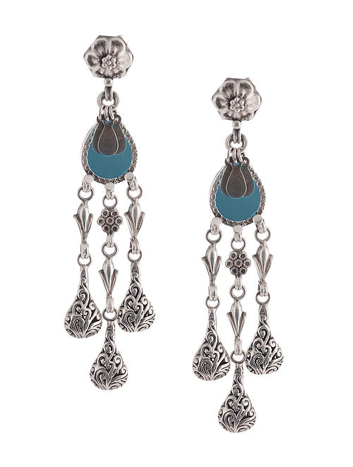 Blue Glass Tribal Silver Earrings with Floral Design