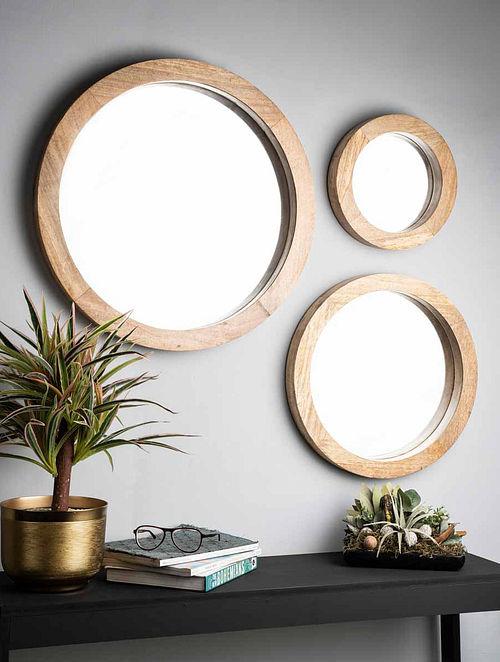 Amara Natural Mango Wood Wall Mirror (Set of 3)