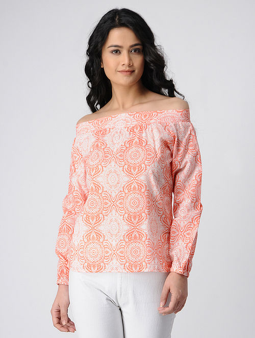 Orange-Ivory Printed Off-Shoulder Cotton Top with Smocking