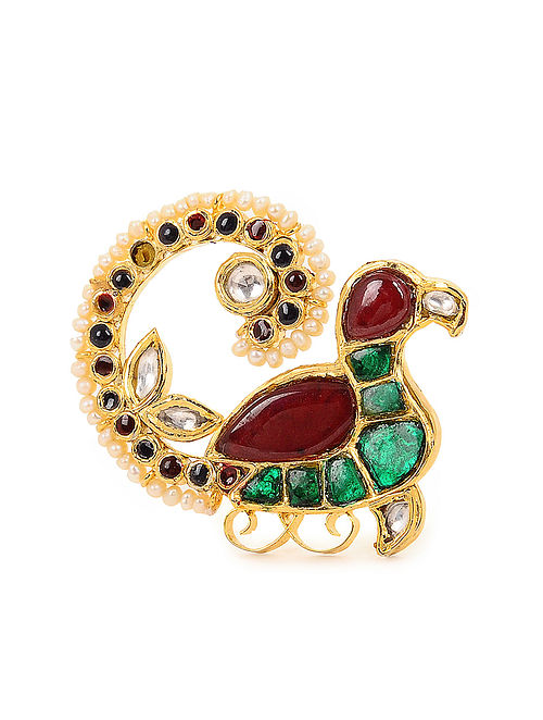 Red-Green Kundan-inspired Gold Tone Adjustable Silver Ring