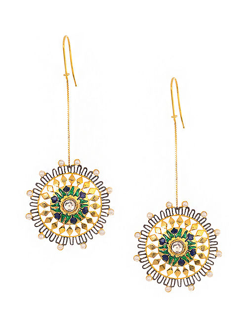 Green-Blue Enameled Kundan-inspired Gold Tone Silver Earrings