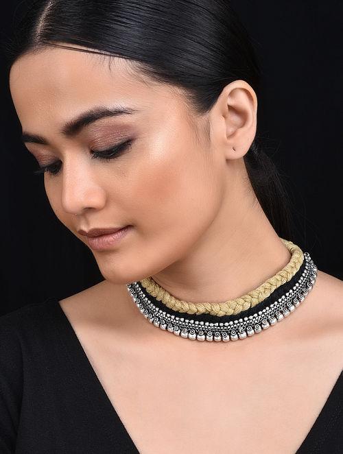 Beige Black Silver Tone Tribal Necklace