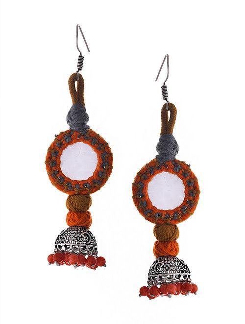 Orange Grey Silver Tone Tribal Jhumka Earrings with Mirror