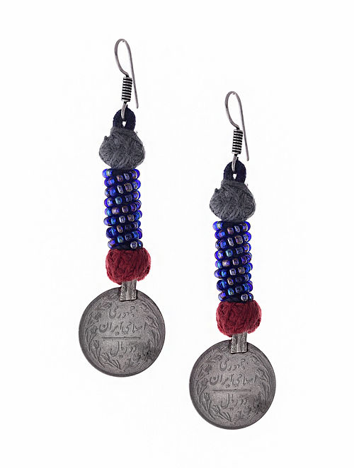 Blue Silver Tone Earrings with Coin
