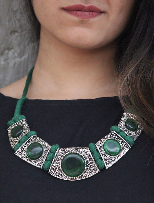 Silver Tone Handcrafted Necklace with Green Agate