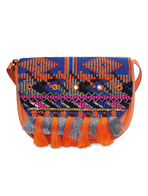Orange-Multicolored Hand-Embroidered Sling Bag