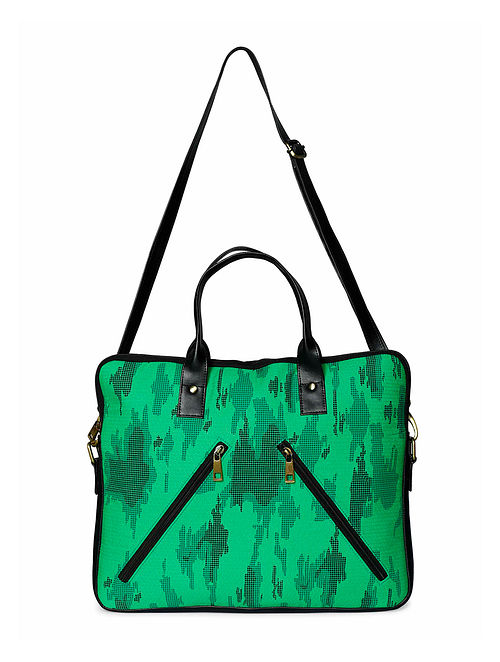 Green Black Handcrafted Laptop Bag