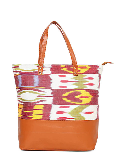Tan Multicolored Handcrafted Jacquard Tote Bag