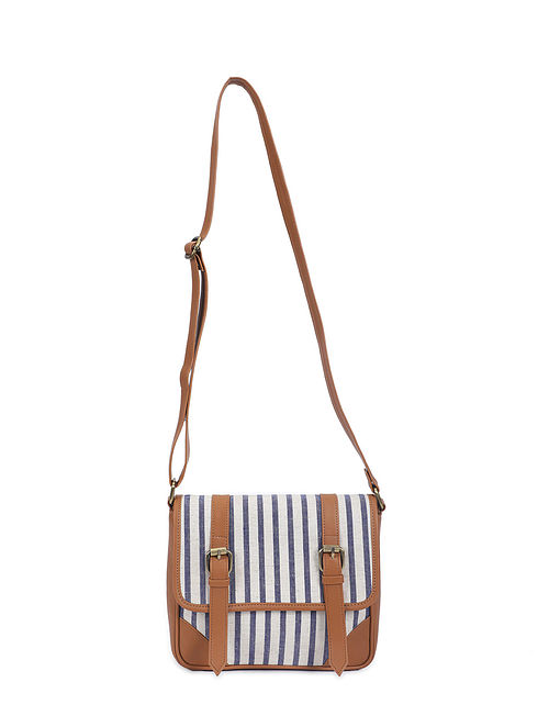 Tan White Handcrafted Cotton Messenger Bag